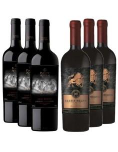 Pack 12 Vinos en Oferta, Bestia Negra Cabernet Sauvignon, Puente Austral Gran Res Blend
